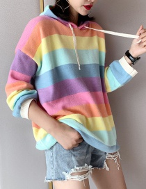 Fashion Pink Rainbow Striped Hooded Sweater