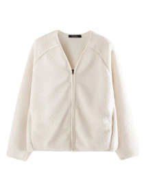 Fashion White Imitation Lambskin Zipper V-neck Cardigan