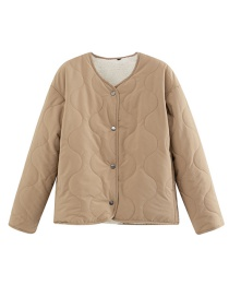 Fashion Beige Imitation Lambskin Pressure Line On Both Sides Of The Jacket
