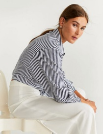 Fashion Black Tie Striped Shirt