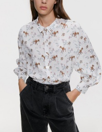 Fashion White Cartoon Print Shirt