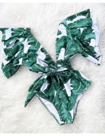 Fashion Green Leaves On White Floral Printed Lace-up One-piece Swimsuit