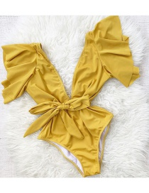 Fashion Pure Yellow Floral Printed Lace-up One-piece Swimsuit