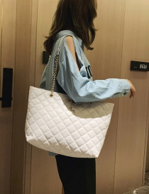 Fashion White Embroidered Thread Rhombic Shoulder Messenger Bag