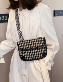 Fashion Khaki Wooly Houndstooth Shoulder Crossbody Bag