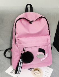 Fashion Pink Canvas Leaf Letter Backpack