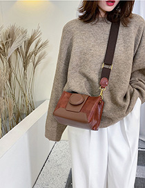 Fashion Brown Contrast Stitching Hand Slung Shoulder Bag