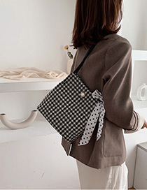 Fashion Black Wooly Houndstooth Scarf Shoulder Bag