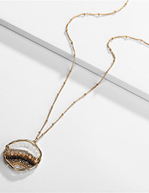 Fashion Gold Alloy Crystal Glass Beads Woven Necklace