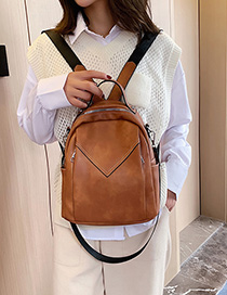 Fashion Brown Stitching Backpack