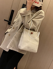 Fashion Beige Round Rhombic Embroidery Line Shoulder Bag