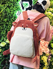 Fashion Naughty Fox Cartoon Animal Corduroy Backpack