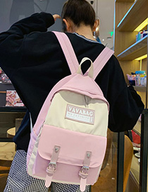 Fashion Pink Contrast Stitching Labeling Backpack