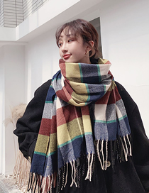 Fashion Gray Red Plaid Fringe Long Section Thick Mixed Color Plaid Scarf