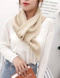Fashion Beige Thick Solid Wool Knit Scarf
