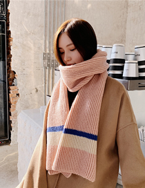 Fashion Leather Powder Thick Knit Wool Scarf
