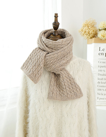 Fashion Khaki Knitted Pit Short Scarf
