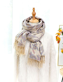 Fashion Beige Houndstooth Shawl Imitation Cashmere Scarf