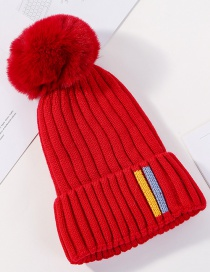 Fashion Red Knitted Plus Velvet Cap