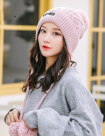 Fashion Pink Letter Patch Three Hair Ball Knitted Wool Cap