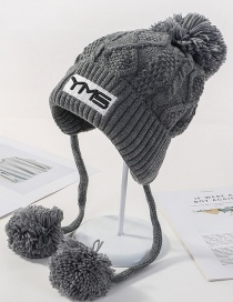 Fashion Gray Letter Patch Three Hair Ball Knitted Wool Cap