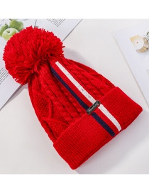 Fashion Red Colorblock Stripes And Fleece Cap