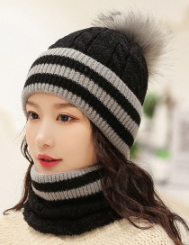 Fashion Black Plush Knitted Hat Bib Two-piece