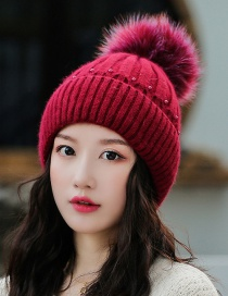 Fashion Red Wine Rabbit Fur Knit Double Plus Fluffy Ball Wool Cap