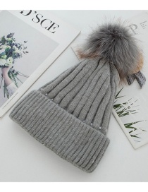 Fashion Gray Rabbit Fur Knit Double Plus Fluffy Ball Wool Cap