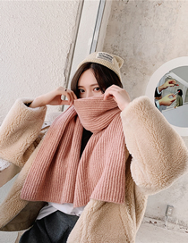 Fashion Snow Bud Powder Knitted Wool Scarf
