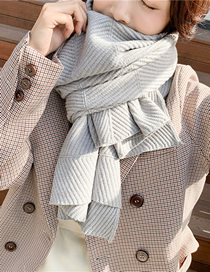 Fashion Light Grey Knitted Thick Wool Shawl