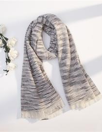 Fashion Gray Woven Cashmere Plaid Scarf Shawl Dual Purpose