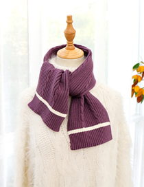 Fashion Purple Knitted Wool Short Scarf