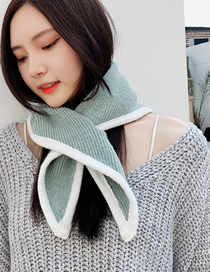 Fashion Lake Blue Knitting Right Angle Triangle Wool Scarf