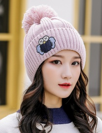 Fashion Pink Embroidered Cartoon Knitted Wool Hat