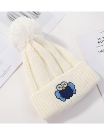Fashion White Embroidered Cartoon Knitted Wool Hat