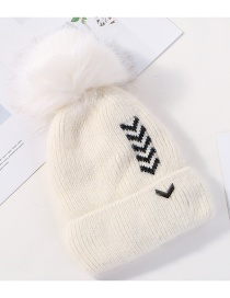 Fashion White Velvet Knitted Plus Velvet Cap