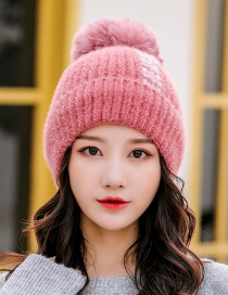 Fashion Leather Red Velvet Knitted Wool Cap