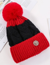 Fashion Red Color Matching Hair Ball Knitting Sun Flower Diamond And Plush Wool Cap