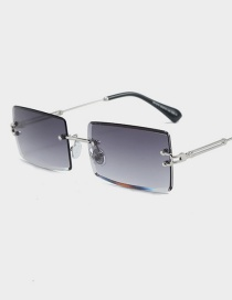 Fashion Silver Frame Double Gray Frameless Trimmed Square Sunglasses