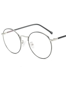 Fashion Silver Frame Point Black Circle Round Metal Frame Flat Mirror Glasses