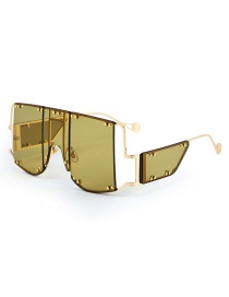 Fashion Green Ash Big Frame Stitching Sunglasses