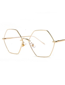 Fashion Rose Gold Frame Regular Hexagonal Large Frame Anti-blue Light Mirror