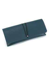 Fashion Lake Blue Leather Glasses Case