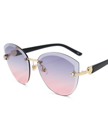 Fashion Ash Powder Frameless Trimming Five-pointed Star Sunglasses