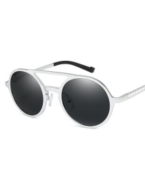 Fashion Silver Frame Black Gray Round Polarized Aluminum-magnesium Sunglasses