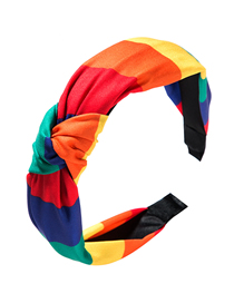 Fashion Color Mixing Cloth Knotted Wide-brimmed Headband