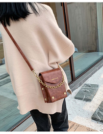 Fashion Brown Chain Rivet Shoulder Messenger Bag  Pu