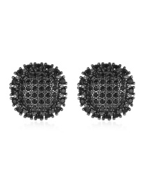 Fashion Gun Black Pave Zircon Round Earrings