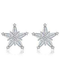 Fashion Platinum Pentagram Earrings